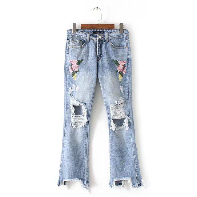 Demin jeans woman bottoms 2017 Holes Embroidered flowers broken micro-horn cowboy jeans female Flare Women wide leg pants capris