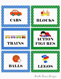 FREE Printable Boy's Toy Bin Labels. Two sets: One with pictures and words and one blank.