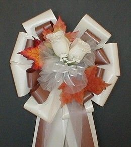 6 IVORY/CHOCOLATE Fall Pew Bows Wedding by csisbridalboutique