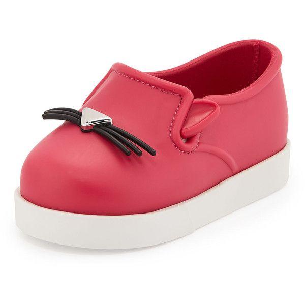 Melissa Shoes Mini Melissa Kitty-Face Slip-On Sneaker ($65) found on Polyvore featuring shoes, sneakers, pink, waterproof footwear, pink sneakers, cat shoes, waterproof sneakers and waterproof shoes