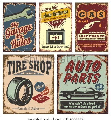 Vintage car service metal signs and posters vector by lukeruk, via ShutterStock