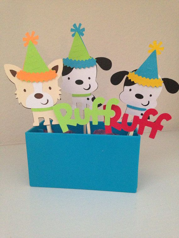 Set of 12 pawty puppy dog party animals cupcake toppers happy birthday on Etsy, $15.00