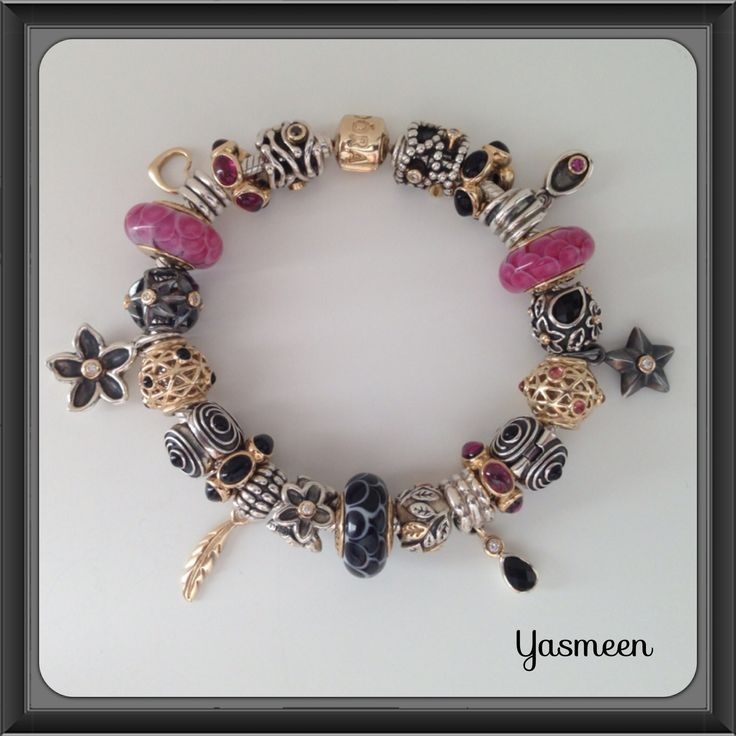 PANDORA Pretty Pink and Black Bracelet. Nicely Balanced with Complementary Charms :-)