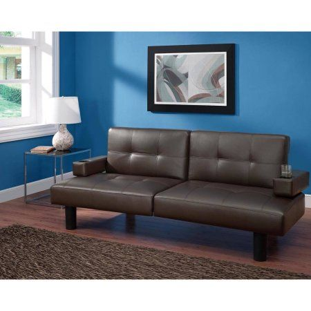 Mainstays Connectrix Bonded Leather Futon, Multiple Colors, Brown