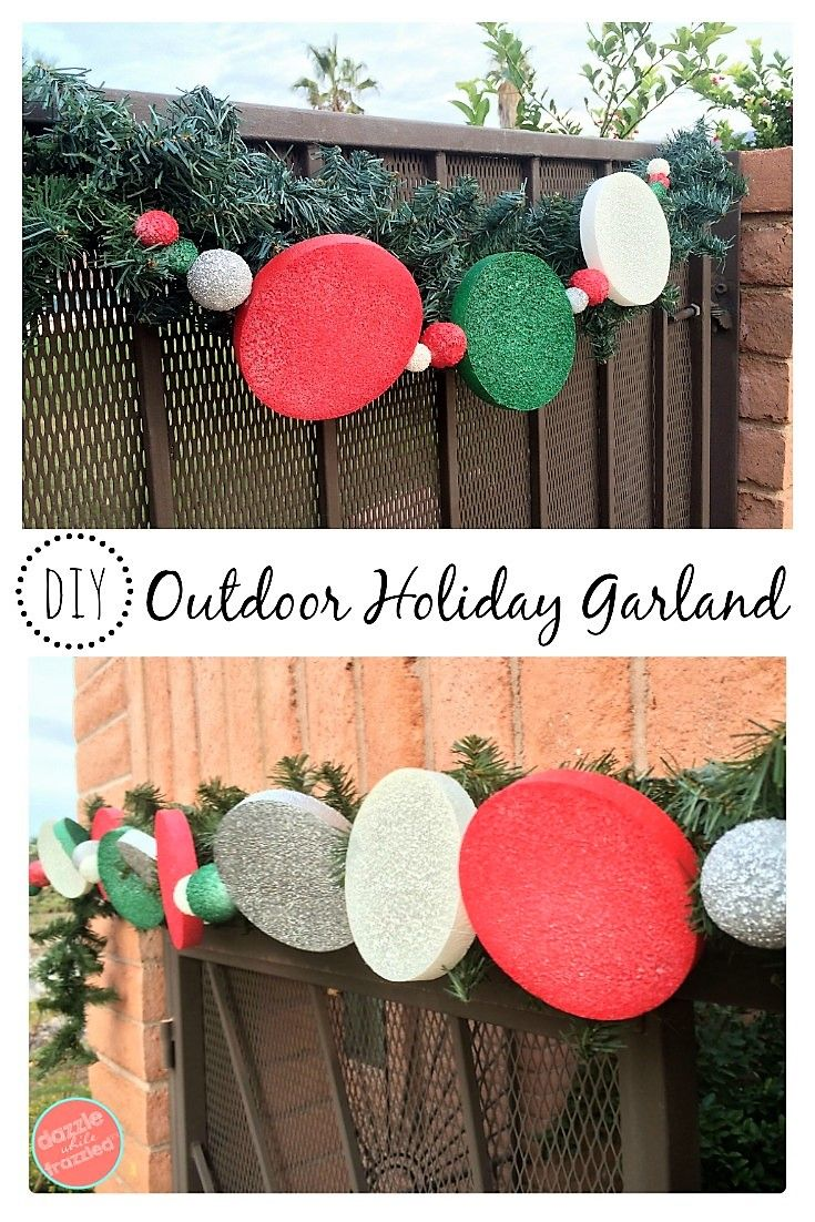 DIY thrifty and easy red, green and white outdoor holiday garland to your home this Christmas season. Easy DIY front door garland decoration. via @https://www.pinterest.com/dazzlefrazzled/ #christmasdecor