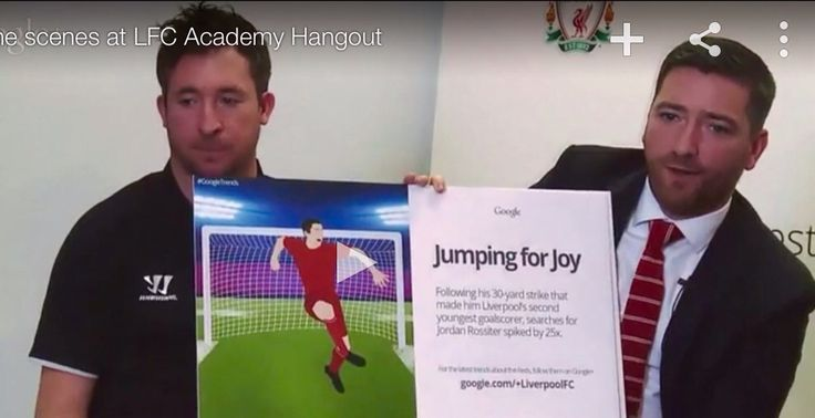 During the Google+ event Jordan Rossiter's is recognized as Liverpool's second youngest goalscorer