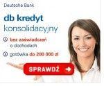 DB Kredyt konsolidacyjny można otrzymać w wysokości do 200 000 zł, maksymalnie na okres 96 miesięcy, z oprocentowaniem od 9,5%. Jego atutem jest szybka decyzja kredytowa wydawana nawet w 10 minut, oraz możliwość otrzymania bez zabezpieczeń. Zrecenzujemy kredyt konsolidacyjny Deutsche Bank