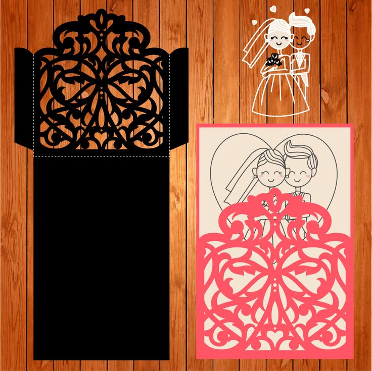 Sobre de la boda tarjeta plantilla, arabescos, figuras (studio V3, svg) lasercut descarga inmediata Silhouette Cameo de thehousedesigns en Etsy