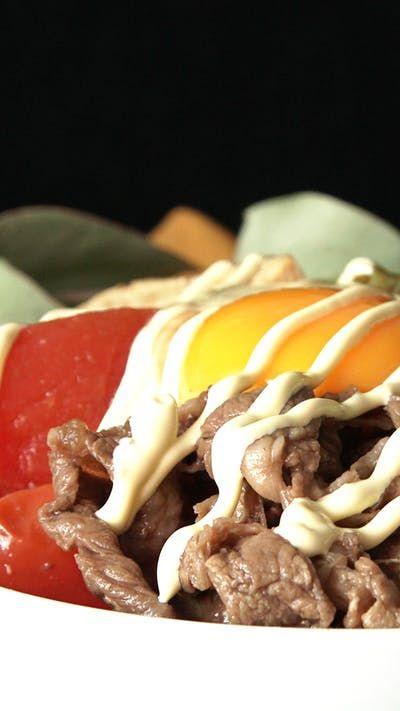 ハイカロリー! チーズすき焼き丼 ~ レシピ | Tastemade