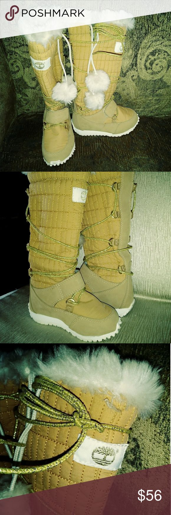 🔆Baby girl💰Timberland boots🔆 💰💰💰Great deal payed $156.00 my daughter never got to wear them💰💰💰💰High fashion timberland baby boots all leather with gold shoe strings..Velcro strap fuzzy inside lining so stinkin cute...NWOT..no box size toddler 6..🔆🔆🔆🔆🔆 there is one small ink mark not sure how that happened see last picture...could probably damp wipe... Timberland Shoes Boots