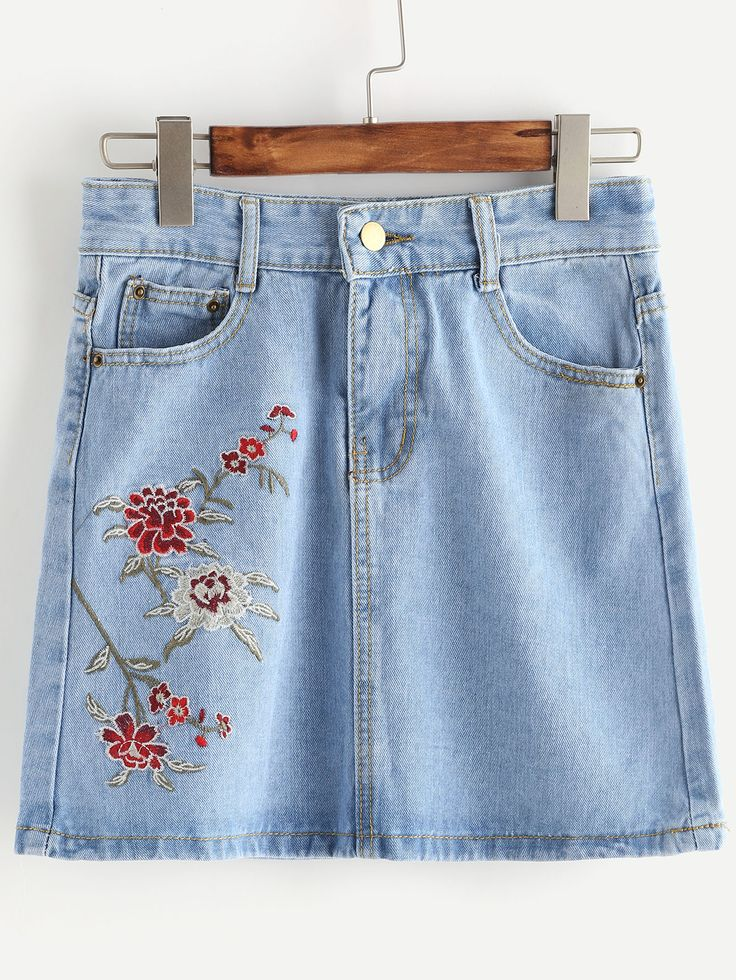 Shop Embroidery Denim Skirt online. SheIn offers Embroidery Denim Skirt & more to fit your fashionable needs.