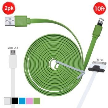 2 Pack: 10 Ft Fettuccine Charging Cables for Android, Blackberry, iPad, iPhone 4 & 5