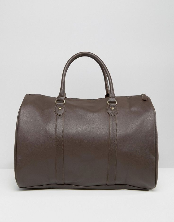 ASOS+Smart+Holdall+In+Brown+Faux+Leather