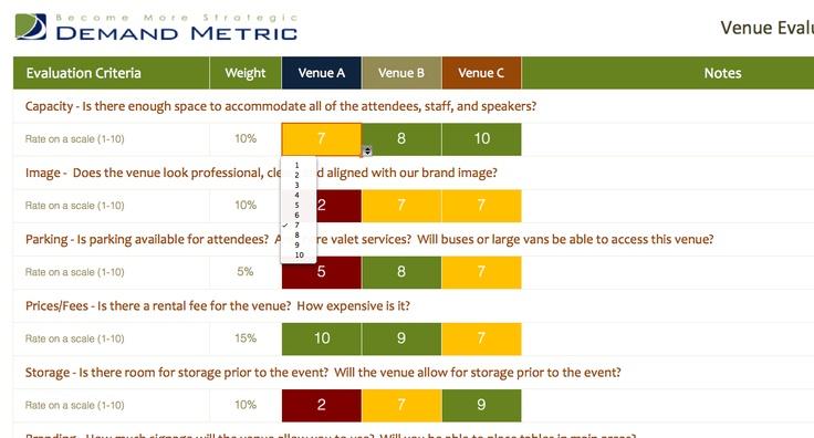 Venue Evaluation Matrix A matrix to help you compare