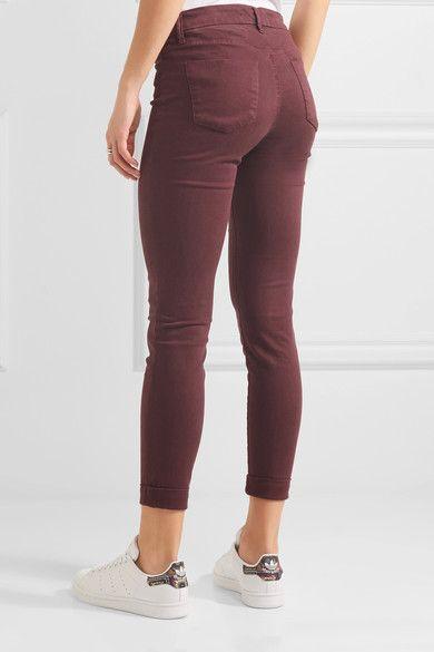 J Brand - Anja Cropped Stretch-sateen Skinny Pants - Burgundy - 32