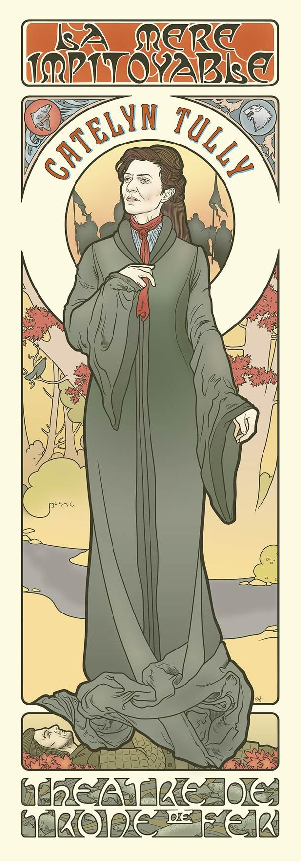 Game of Thrones, Catelyn Tully. Elin Jonsson's Game of Thrones art nouveau illustrations in the style of Alphonse Mucha