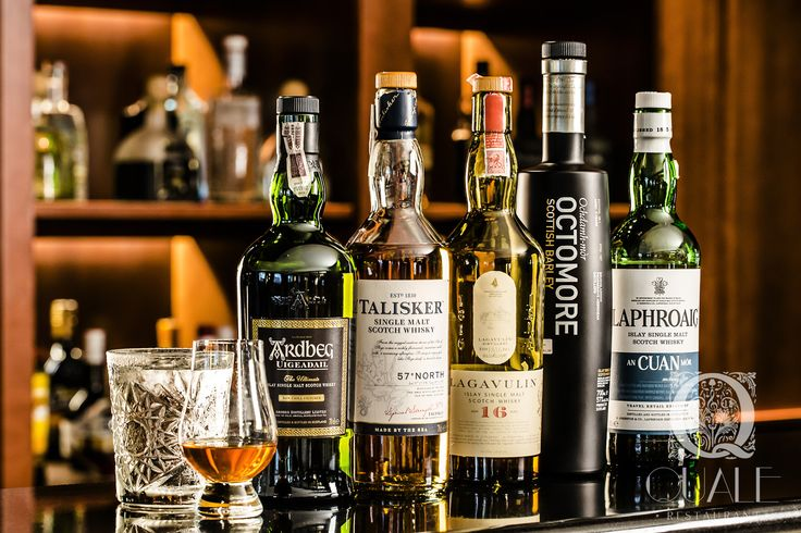 Tasting whisky-set. Whisky & Cigar Lounge at Quale Restaurant in Lodz, Poland