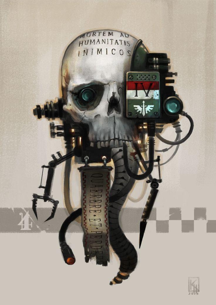 "a-40k-author: ""Servo Skull by Kenneth Hammarstedt. """