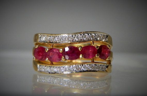 Vintage Gold Ring Natural Red Rubies and Diamonds Fine Quality Size 6 Yellow 14k Gold Ring 585 Gold Gift Idea For Her DanPickedMinerals