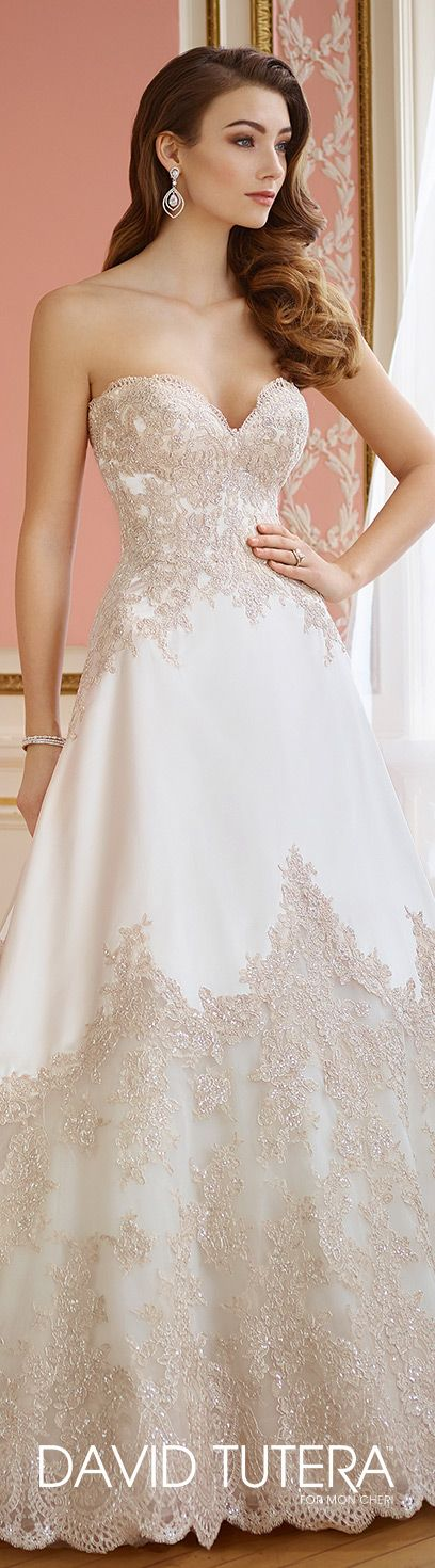 David Tutera for Mon Cheri Fall  2017 Collection - Style No. 217201 Emil - strapless tulle and satin A-line wedding dress with metallic lace