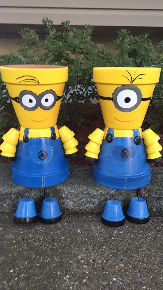 MINION Pot Person Minion Girl or Minion Boy by GARDENFRIENDSNJ