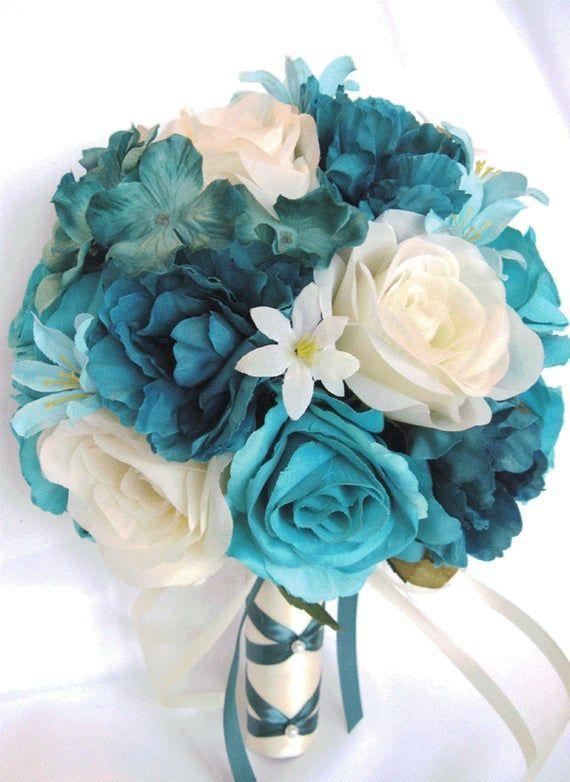17 Piece Wedding Bouquets Bridal Bouquet Set Wedding Silk Flowers Turquoise Teal Aqua Blue Cream Wed Silkbridalbouquet Teal Wedding Flowers Blue Wedding Bouquet Boquette Wedding