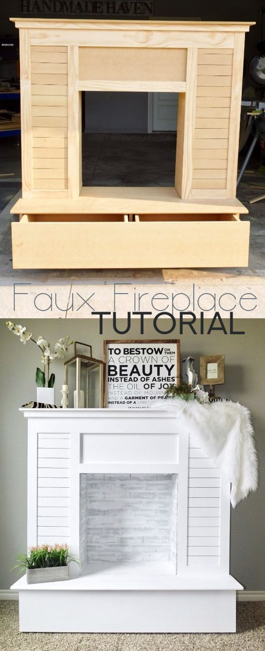 Faux Fireplace How-To with shiplap and faux brick painted with lime wash and aged gray rustoleum chalk paint