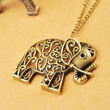 Bijoux rétro creuse sculpté chaîne de chandail d'éléphant mignon européens et américains N478 – EUR € 1.54