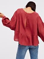 Wildcat Top | Made from our sheer and gauzy Endless Summer fabric, this vintage cotton top features puffed sleeves and a cute peplum silhouette. Unfinished edges around the neckline and sleeve cuffs for a lived-in look.