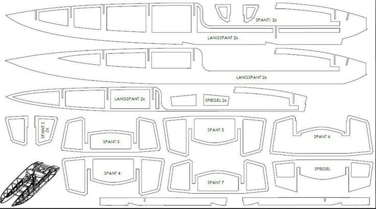 R/C Catamaran Boat parts blueprint