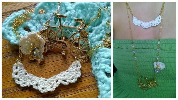Ladri di Biciclette - big pendant statement necklace with crochet lace