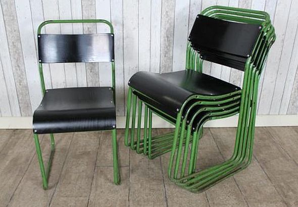 ORIGINAL FUNKY STACKING CHAIRS, GREEN FRAME, BLACK SEAT, UK DEL...