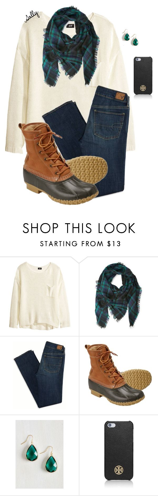 """""""How to wear Bean Boots"""" by sc-prep-girl ❤ liked on Polyvore featuring H&M, Forever 21, American Eagle Outfitters, L.L.Bean and Tory Burch"""
