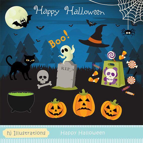 Halloween Clipart   Happy Halloween Digital Clipart #halloweenclipart  #halloweeninvitation #pumpkinclipart #halloweenpumpkins #