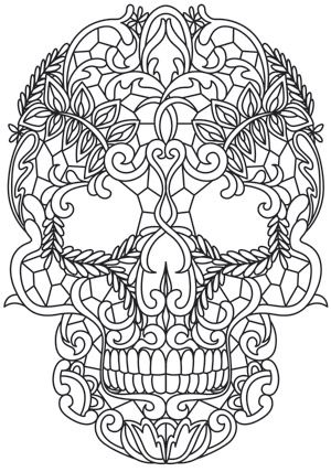 Craft a dark and lovely look with this lace-patterned skull stitched onto your favorite fabric. Downloads as a PDF. Use pattern transfer paper to trace design for hand-stitching.