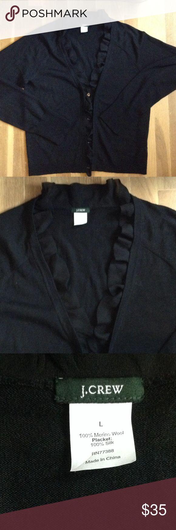 Fancy merino wool W/silk ruffle J Crew sweater Size large gorgeous fancy J Crew sweater J. Crew Sweaters Cardigans