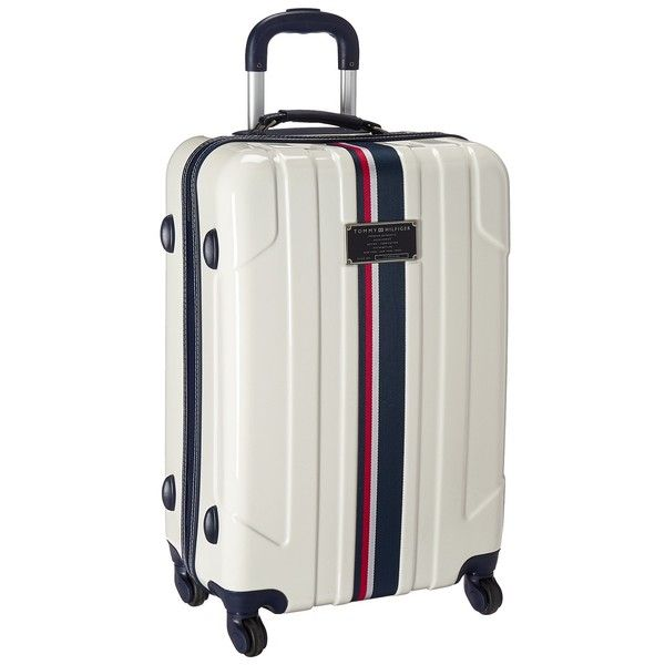 Tommy Hilfiger Lochwood Upright 24 Suitcase (White) Luggage ($110) ❤ liked on Polyvore featuring bags, luggage and white
