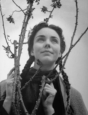 "JENNIFER JONES in ""The Song of Bernadette"", 1943. Jones had been nominated for Academy Awards five time; & won an Oscar for Best Actress for her role in this film."
