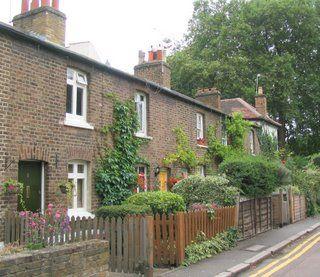 Cottages near Ealing Common Tube station, London, UK