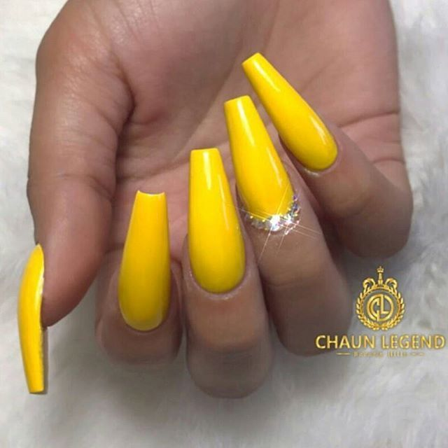 Neon Yellow And Gems Yellow Nails Coffin Shape Nails Neon Nails