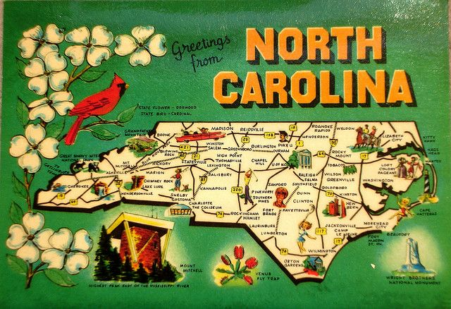 Greetings from North Carolina map postcard by Smaddy, via Flickr