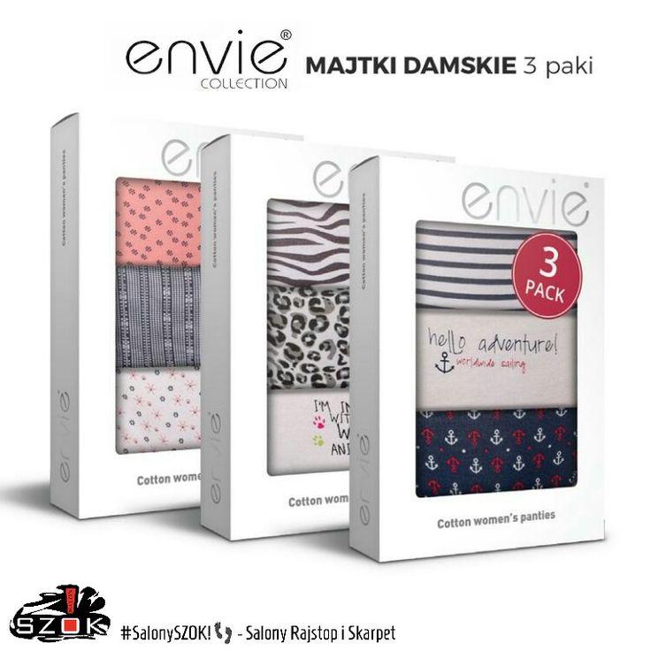 🔴 Już je mamy! Nowe #wzory #majteczek #damskich firmy #Envie, jak zwykle #pakowane w #atrakcyjne #3-paki 😊. Serdecznie Zapraszamy ➡ #SalonySZOK!👣