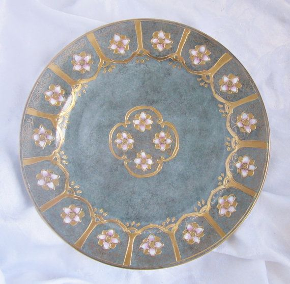Gorgeous gilded gold Toyo plate ~ teal smoky grey gray plate ~ decorative plate ~ Asian decor ~ Toyo made in China vintage 1980s ~ floral