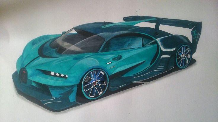 Bugatti gran turismo vision, inventer pour le jeux de simulation grand turismo 6. Dessiné par mes soins.