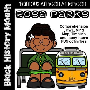 This Rosa Parks Comprehension Pack for Black History Month includes a 2-page comprehension / biography on her life with questions. There are also many other activities for the students to learn through this topic.This would also be perfect for Women's History Month!Included:2 page Comprehension / biography with questions1 page Reflection Sheet (KWL - What do I know, What do I want to learn and what did I learn?1 page What did I learn? / Fact Sheet1 page Dictionary Skills - students look up w