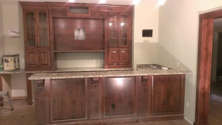 alder cabinets kitchen best appliances reviews basement bar - wood with a chestnut stain | ...