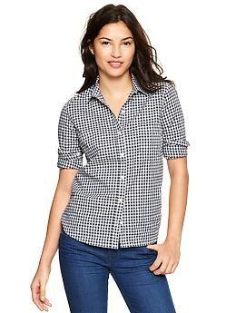 Gap Fitted boyfriend gingham shirt