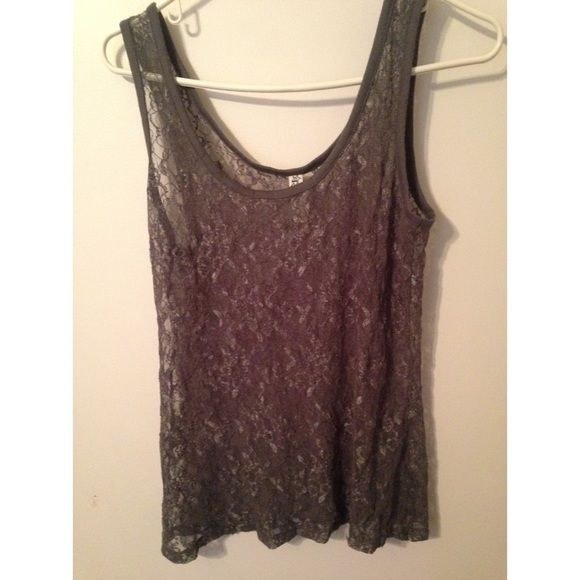 Lace see through tank top Grey lace see through tank top, brand new never worn, NWOT. flawless condition! Bundles available, make me an offer! Tops Tank Tops