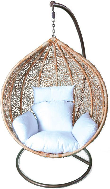 nest chair, hanging chair, natural rattan, white cushion