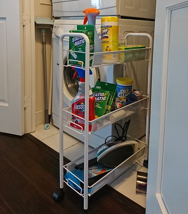 People love our Slim Cart! This versatile cart will slide easily in and out of tight areas between cabinets, bathroom fixtures or your washer and dryer. Shop now --> https://www.tidyliving.com/slim-cart.html?utm_content=buffer2b693&utm_medium=social&utm_source=pinterest.com&utm_campaign=buffer ⠀ #TidyLiving #SlimCart #Laundry #Bathroom #StorageSolution #Washer #Dryer #SpaceSaver #CleaningSupplies #Organize